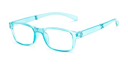 Angle of The Perkins Folding Reader in Light Blue, Women's and Men's Rectangle Reading Glasses