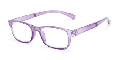 Angle of The Perkins Folding Reader in Purple, Women's and Men's Rectangle Reading Glasses