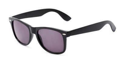 Angle of The Persimmon Reading Sunglasses in Black with Smoke, Women's and Men's Retro Square Reading Sunglasses