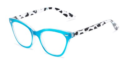 Angle of The Petunia in Blue/Clear Leopard, Women's Cat Eye Reading Glasses