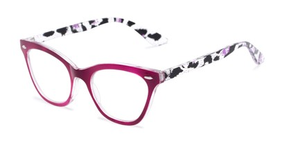 Angle of The Petunia in Pink/Clear Leopard, Women's Cat Eye Reading Glasses