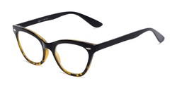 Angle of The Petunia in Tortoise Fade, Women's Cat Eye Reading Glasses