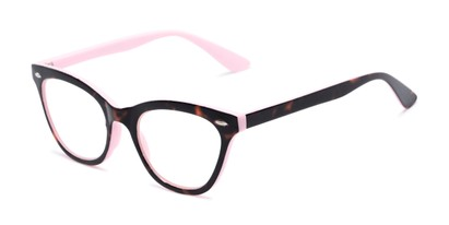 Angle of The Petunia in Pink/Tortoise, Women's Cat Eye Reading Glasses