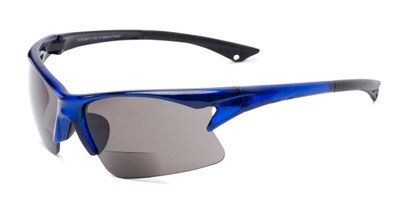 Angle of The Phoenix Bifocal Reading Sunglasses in Blue with Smoke, Women's and Men's Sport & Wrap-Around Reading Sunglasses