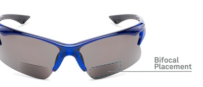 Detail of The Phoenix Bifocal Reading Sunglasses in Blue with Smoke