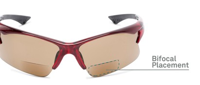 Detail of The Phoenix Bifocal Reading Sunglasses in Red with Amber