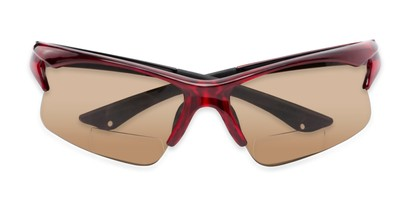 Folded of The Phoenix Bifocal Reading Sunglasses in Red with Amber
