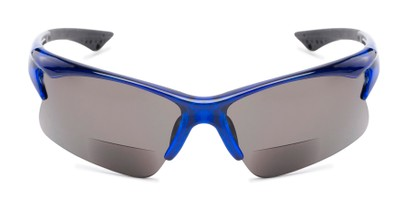 Front of The Phoenix Bifocal Reading Sunglasses in Blue with Smoke