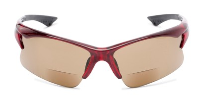 Front of The Phoenix Bifocal Reading Sunglasses in Red with Amber