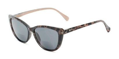 Angle of The Picnic Bifocal Reading Sunglasses in Brown Leopard with Smoke, Women's Cat Eye Reading Sunglasses
