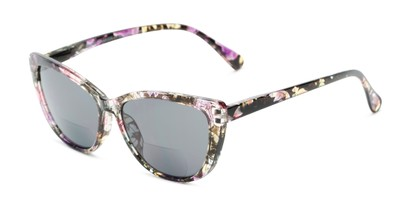 Angle of The Picnic Bifocal Reading Sunglasses in Purple Floral with Smoke, Women's Cat Eye Reading Sunglasses