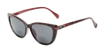Angle of The Picnic Bifocal Reading Sunglasses in Red Leopard with Smoke, Women's Cat Eye Reading Sunglasses