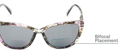 Detail of The Picnic Bifocal Reading Sunglasses in Purple Floral with Smoke