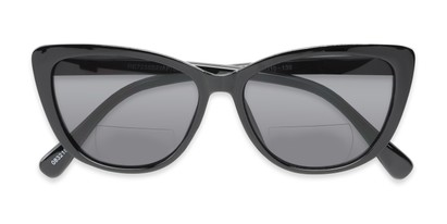 Folded of The Picnic Bifocal Reading Sunglasses in Black with Smoke