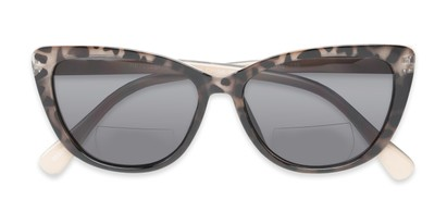 Folded of The Picnic Bifocal Reading Sunglasses in Brown Leopard with Smoke
