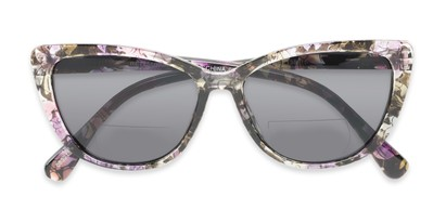 Folded of The Picnic Bifocal Reading Sunglasses in Purple Floral with Smoke