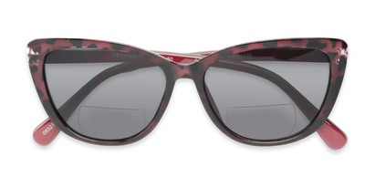 Folded of The Picnic Bifocal Reading Sunglasses in Red Leopard with Smoke