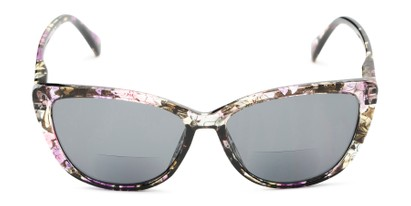Front of The Picnic Bifocal Reading Sunglasses in Purple Floral with Smoke