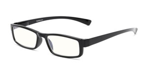 Angle of The Pike Place Computer Reader in Black with Clear, Women's and Men's Rectangle Reading Glasses