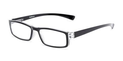 Angle of The Pike Place Computer Reader in Black/Clear with Clear, Women's and Men's Rectangle Reading Glasses