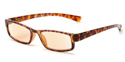 Angle of The Pike Place Computer Reader in Tortoise with Amber, Women's and Men's Rectangle Reading Glasses