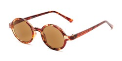 Angle of The Pillar Reading Sunglasses in Marbled Brown with Amber, Women's and Men's Round Reading Sunglasses