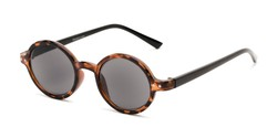 Angle of The Pillar Reading Sunglasses in Brown Tortoise/Black with Smoke, Women's and Men's Round Reading Sunglasses