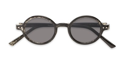 Folded of The Pillar Reading Sunglasses in Marbled Black with Smoke