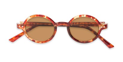 Folded of The Pillar Reading Sunglasses in Marbled Brown with Amber