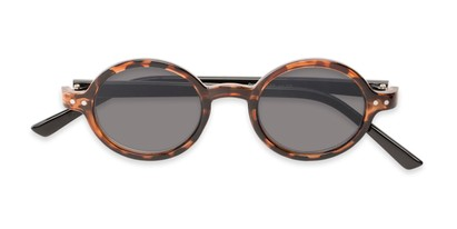 Folded of The Pillar Reading Sunglasses in Brown Tortoise/Black with Smoke