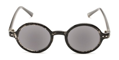 Front of The Pillar Reading Sunglasses in Marbled Black with Smoke