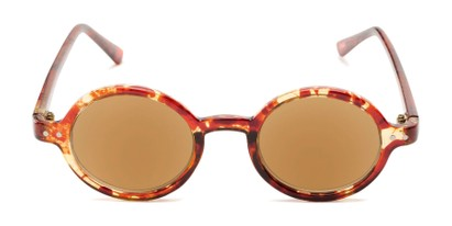 Front of The Pillar Reading Sunglasses in Marbled Brown with Amber
