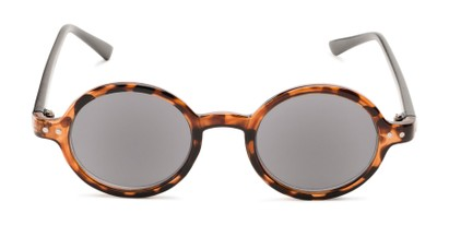 Front of The Pillar Reading Sunglasses in Brown Tortoise/Black with Smoke