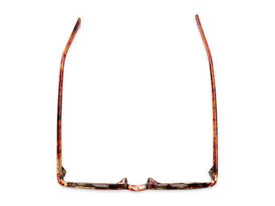 Overhead of The Pillar Reading Sunglasses in Marbled Brown with Amber