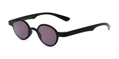 Angle of The Pine Reading Sunglasses in Black with Smoke, Women's and Men's Round Reading Sunglasses