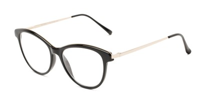 Angle of The Cosette in Black/Gold, Women's Cat Eye Reading Glasses