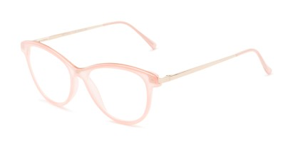 Angle of The Cosette in Pink/Gold, Women's Cat Eye Reading Glasses