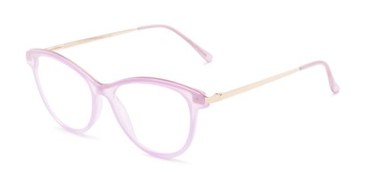 Angle of The Cosette in Purple/Gold, Women's Cat Eye Reading Glasses