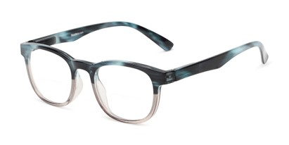 Angle of The Poet Bifocal in Blue/Brown Fade, Women's and Men's Retro Square Reading Glasses