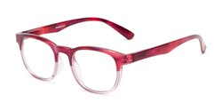Angle of The Poet Bifocal in Red/Pink Fade, Women's and Men's Retro Square Reading Glasses