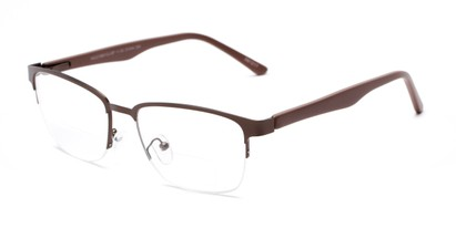 Angle of The Polk Bifocal in Bronze/Brown, Women's and Men's Rectangle Reading Glasses
