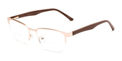 Angle of The Polk Bifocal in Gold/Brown, Women's and Men's Rectangle Reading Glasses
