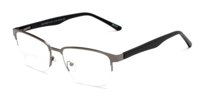 Angle of The Polk Bifocal in Grey/Black, Women's and Men's Rectangle Reading Glasses