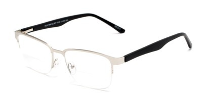 Angle of The Polk Bifocal in Silver/Black, Women's and Men's Rectangle Reading Glasses