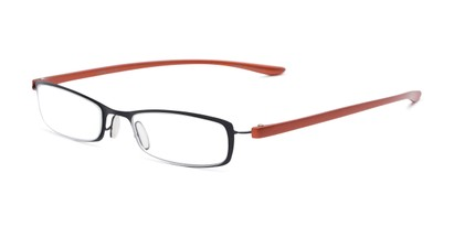 Angle of The Portage in Black/Orange, Women's and Men's Rectangle Reading Glasses