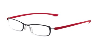 Angle of The Portage in Black/Red, Women's and Men's Rectangle Reading Glasses