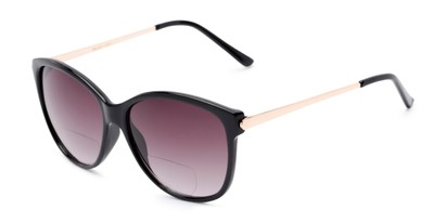 Angle of The Posey Bifocal Reading Sunglasses in Black/Gold with Smoke, Women's Cat Eye Reading Sunglasses