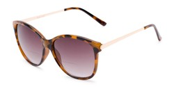 Angle of The Posey Bifocal Reading Sunglasses in Light Tortoise/Gold with Smoke, Women's Cat Eye Reading Sunglasses