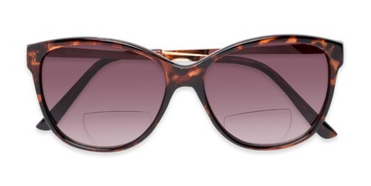 Folded of The Posey Bifocal Reading Sunglasses in Tortoise/Gold with Smoke