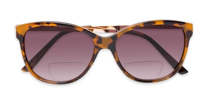 Folded of The Posey Bifocal Reading Sunglasses in Light Tortoise/Gold with Smoke